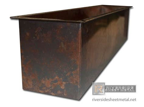 Sheet Metal Planters by Copper Planter With A Burnished Look And Flange