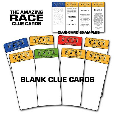 blank clue card template amazing race clipart 77