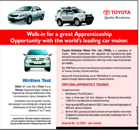Tomorrow Walkins In Bangalore For Mba Finance Freshers by Walkin Toyota Kirloskar Diploma June 26th 2011