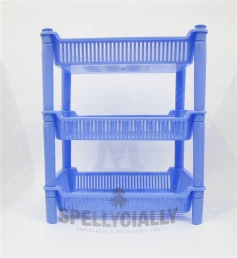 Rak Piring Plastik 3 Susun Rak Serbaguna jual rak plastik susun 3 persegi biru spellycially