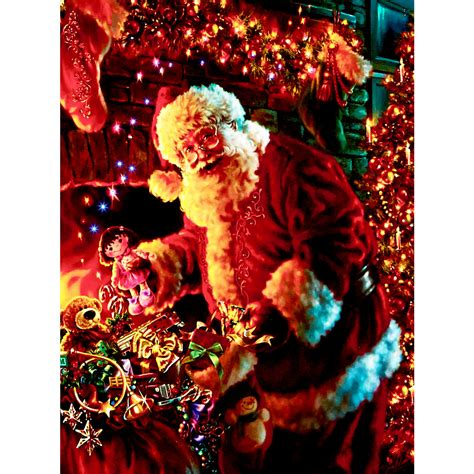 premier led fibre optic father christmas canvas