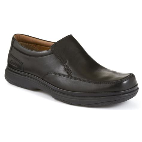 clarks mens step black slip on wide fitting shoe