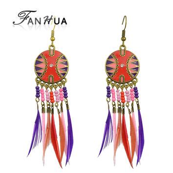 Anting Korea Forever21 Feather Tassel shop indian beaded earrings on wanelo