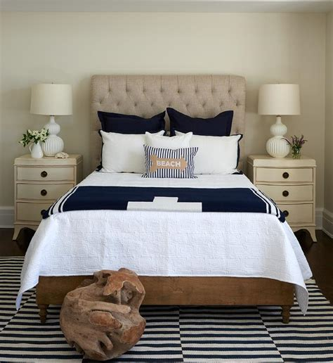 navy and cream bedding interior design inspiration photos by lillian august