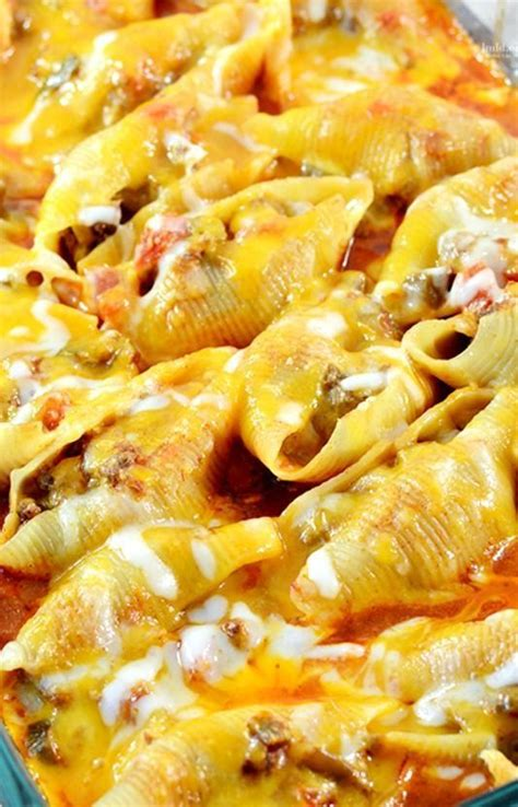 mexican bathtub cheese mexican stuffed shells recipe filled with a ground beef
