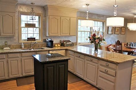 Linen Kitchen Cabinets Wood Kitchen Cabinets Updated With Ascp Chalk Paint Colors Half White Half Linen