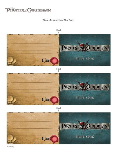 cast and crew time card template of the caribbean treasure hunt clue cards disney