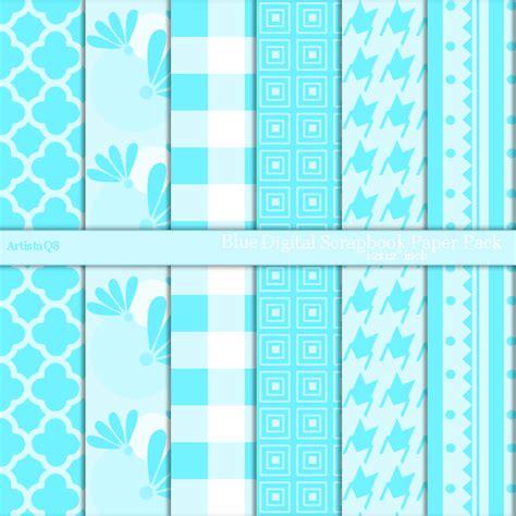 Blue Craft Paper - blue digital paper goods patterns scrapbook craft paper