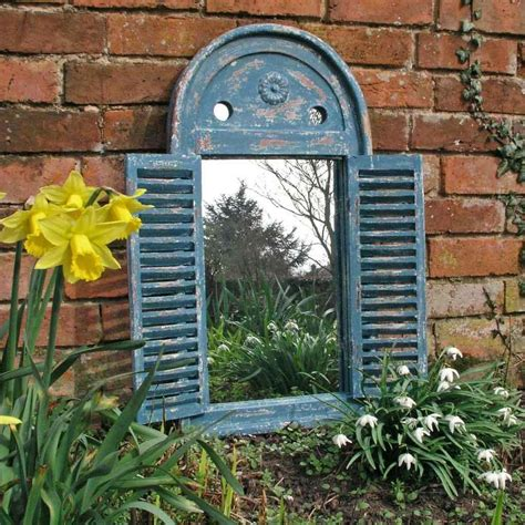 buy rustic blue louvred mirror  worm  turned