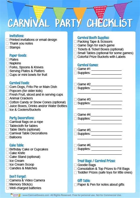 birthday themes list carnival birthday party checklist free download