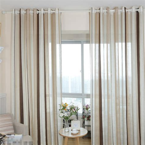 Wowhomme Gauze Striped Sheer M6132r european cotton linen curtain coffee striped design window gauze sheer curtains for living room