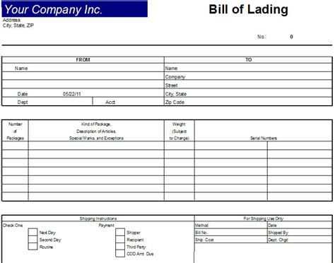 excel bill of lading template bill of lading document