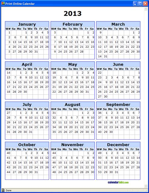printable calendar week number 5 best images of 2013 printable calendar by week number