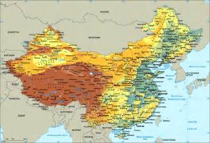physical map of physical map of china size
