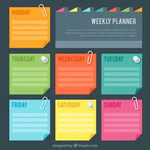 Post It Label Templates by Weekly Planner With Colores Post It Vector Free