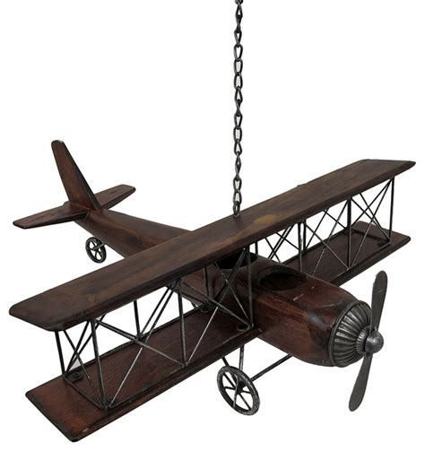 vintage look wood and metal biplane airplane hanging