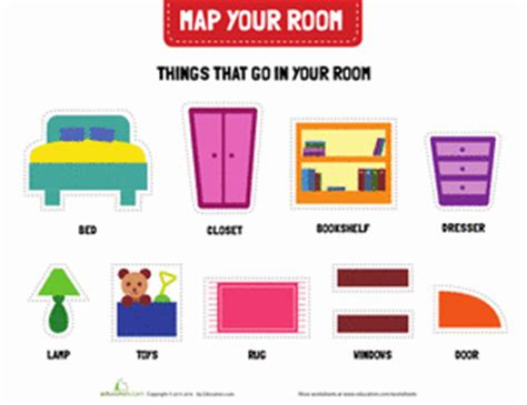 map of my bedroom my bedroom worksheet education com