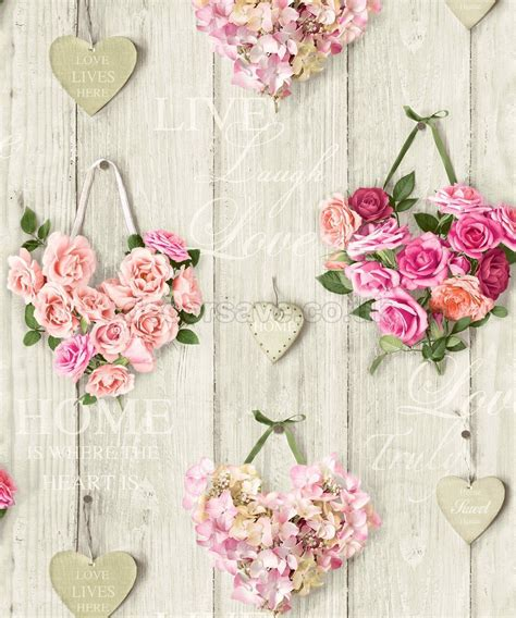 shabby chic wallpaper lives here hearts wallpaper pink the shabby chic guru