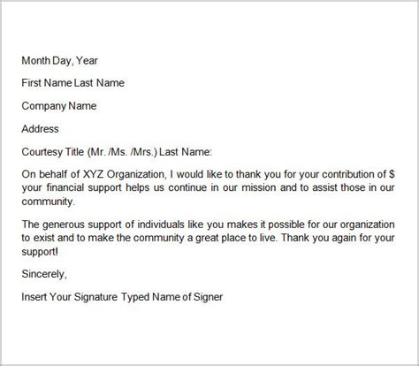 Thank You Letter Donation Template 1 Sle Thank You Letters For Donation 8 Documents In