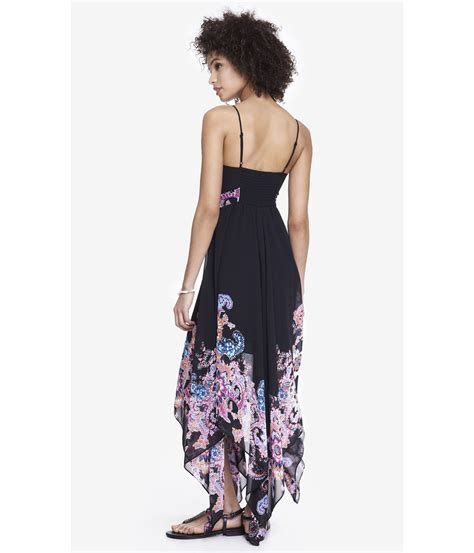 lyst express  floral handkerchief hem maxi dress