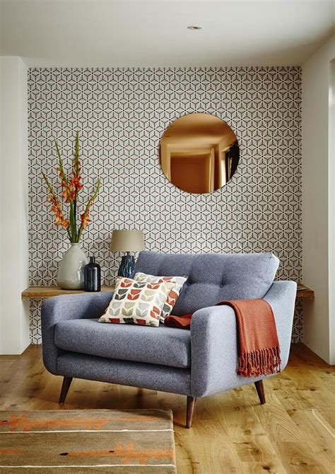 mid century modern living room furniture decorating with retro wallpaper 32 eye catchy ideas
