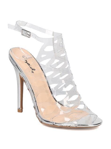 High Heels Garsel Shoes S 269 new qupid ara 269 lucite peep toe cutout slingback