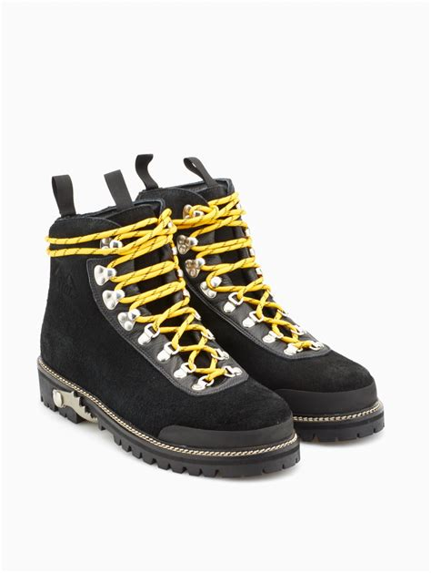 white c o virgil abloh leather hiking boots in black