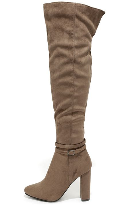 taupe the knee suede boots taupe boots the knee boots otk 47 00