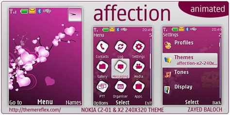 nokia c2 heart themes affection animated theme nokia x2 c2 01 240 215 320