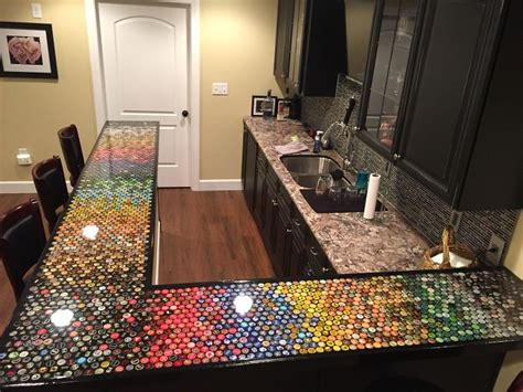 how to make a bottle cap bar top man collects bottle caps for 5 years to redo his kitchen