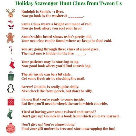 printable reindeer games they re like fun riddles who holiday scavenger hunt clues for tweens gifts for tweens