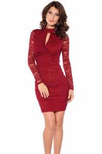 Red long sleeves lace sexy dress long sleeve dresses long sleeved