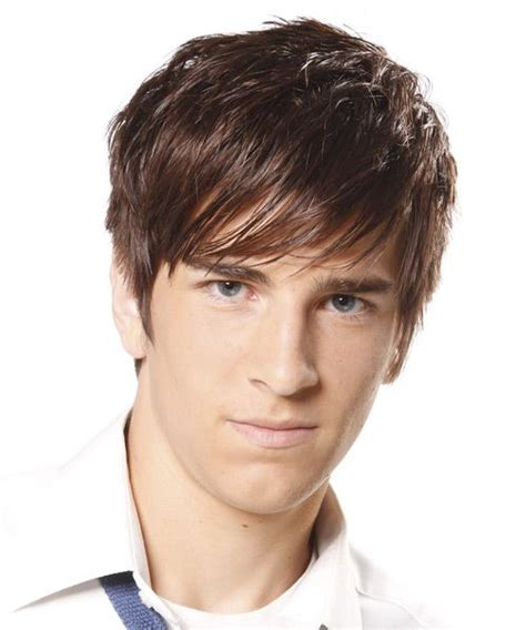 chocolate haircut boy short straight casual hairstyle light brunette