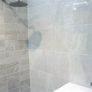 Light grey tile bathroom quotes