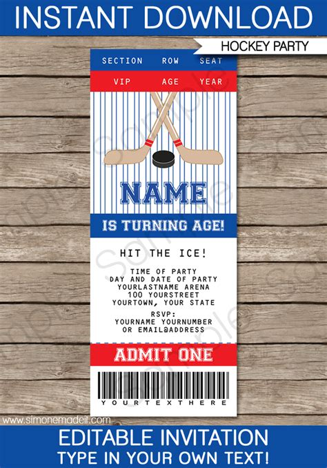 Hockey Ticket Invitations Birthday Party Template Ticket Invitation Template Free