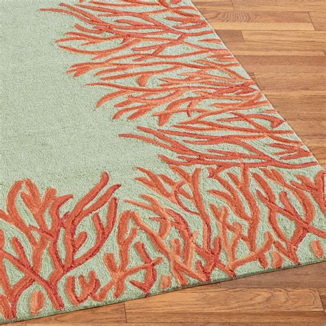 Orange Coral Reef Indoor Outdoor Area Rugs Orange Rug