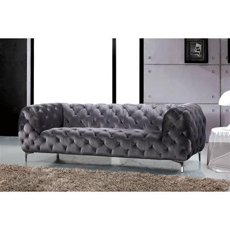 meridian furniture gry  mercer sofa  grey velvet