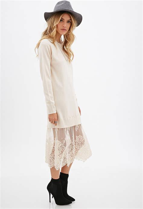 Dress Button Lace Jumper 1 lyst forever 21 eyelash lace sweater dress in pink