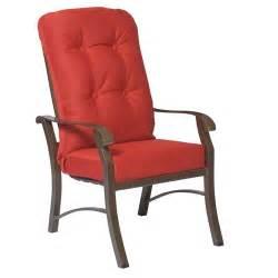 High Back Patio Chair Woodard 4zm426 Cortland Cushion Outdoor High Back Dining Arm Chair