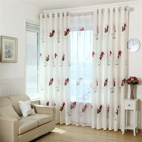 white living room curtains white leaf print polyester elegant insulated living room