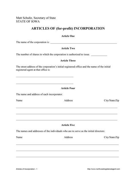 Free Articles Of Incorporation In Iowa Articles Of Organization Florida Template