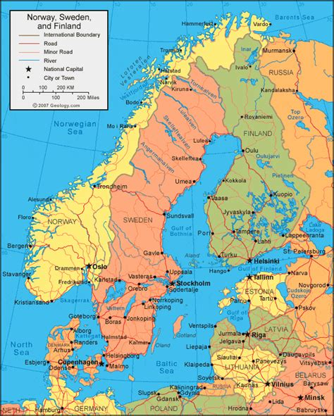 political map of scandinavia map and satellite image