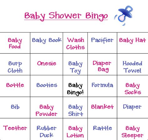 baby bingo card templates all new baby shower bingo