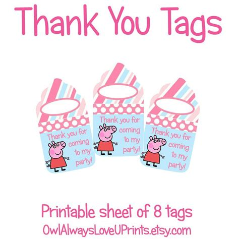 printable thank you tags pinterest printable thank you tags peppa pig pinterest pig party