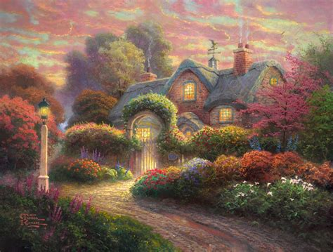 Rosebud Cottage Limited Edition Art The Thomas Kinkade Cottage Paintings By Kinkade