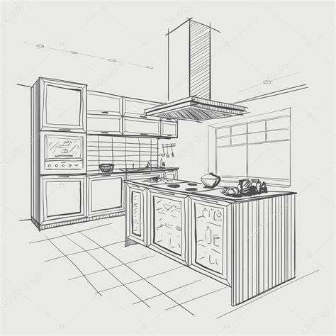 kitchen sketch interior sketch of modern kitchen with island stock