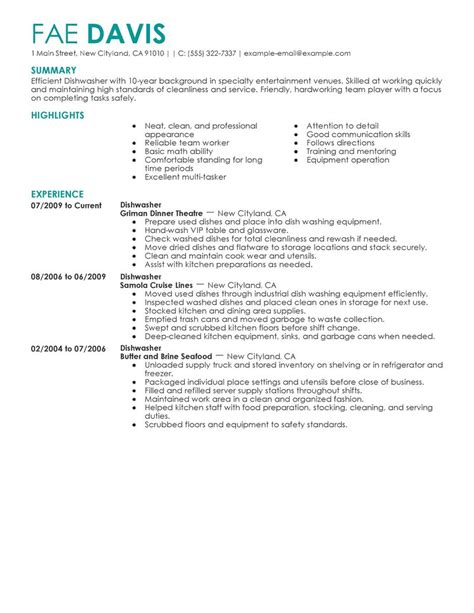 dishwasher sle resume best dishwasher resume exle livecareer