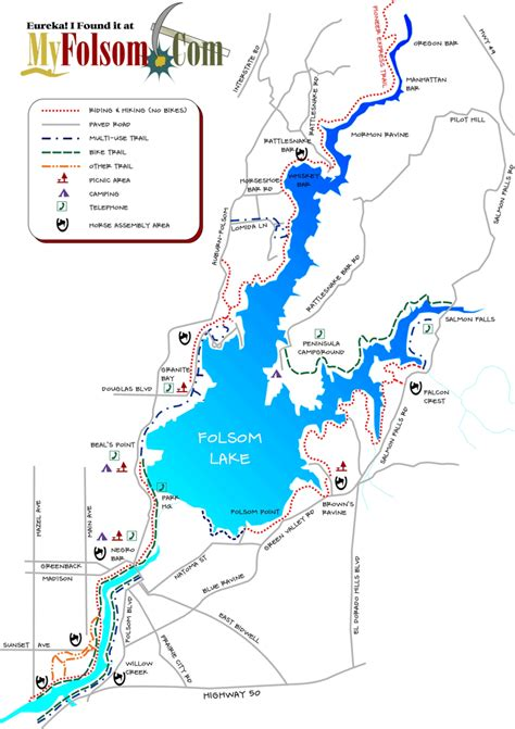 folsom ca map folsom hiking info links hiking trail