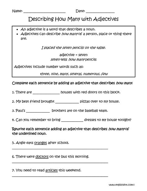 describing how many adjectives worksheets teaching