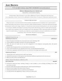 assistant manager resume sle administrative assistant resume objective